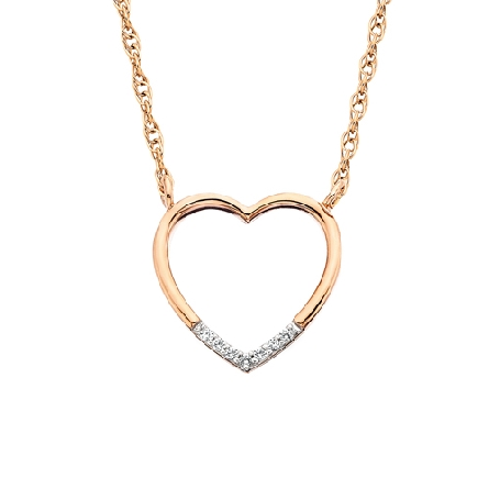 10 karat rose gold open heart split chain necklace with diamonds around the bottom point (.02cttw); on rope chain