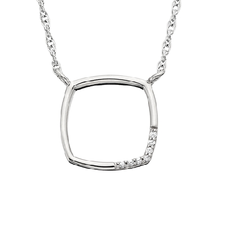 10 karat white gold open square split chain necklace with diamonds around a lower corner; .02cttw