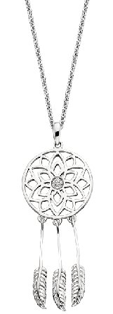 sterling silver dreamcatcher pendant with diamond cluster in center; .04cttw; on cable chain