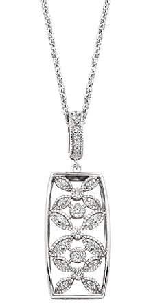 sterling silver pendant; rectangle with petal designs set with CZs