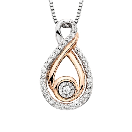 sterling silver   love s path   pendant; infinity symbol set with diamonds; 10 karat rose gold center swirl with diamond; .15cttw