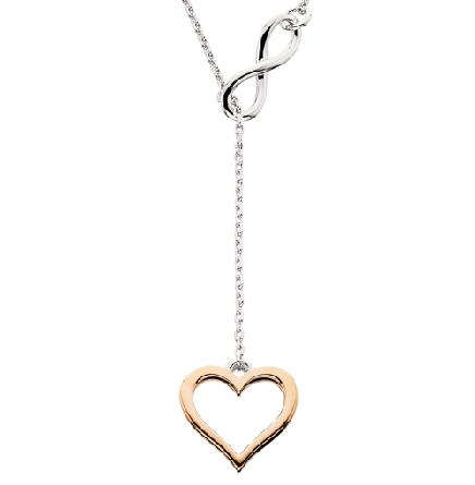 sterling silver lariat necklace; chain with rose gold plate open heart dangle goes through lower loop in infinity symbol; cable chain