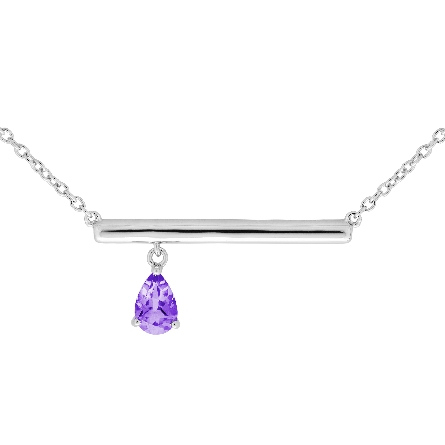 sterling silver split chain bar necklace with off-center dangling pear-shaped amethyst