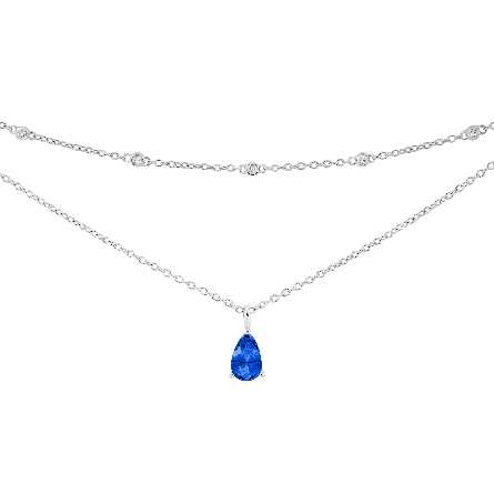 sterling silver layered necklace with pear-shaped created blue sapphire on lower layer; small round white topaz stations on upper layer