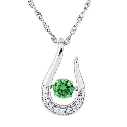 sterling silver pendant; open horseshoe shape set with clear cubic zirconia; center is   glimmer   movement emerald-colored CZ