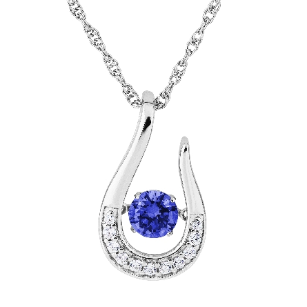 sterling silver pendant; open horseshoe shape set with clear cubic zirconia; center is   glimmer   movement blue sapphire-colored CZ