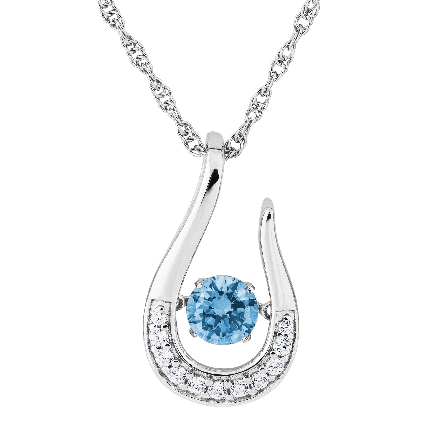 sterling silver pendant; open horseshoe shape set with clear cubic zirconia; center is   glimmer   movement blue zircon-colored CZ