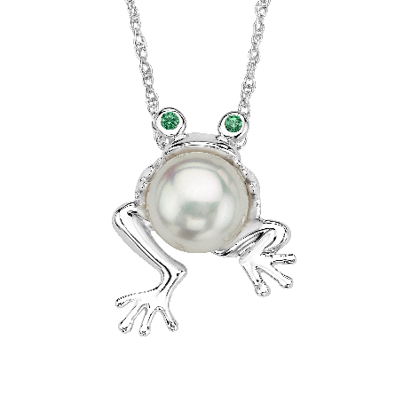 sterling silver pendant; frog has body of freshwater pearl; green cubic zirconia eyes