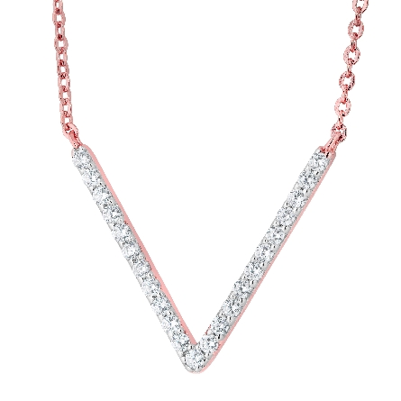 sterling silver with rose gold plate split chain necklace; deep cubic-zirconia-set V