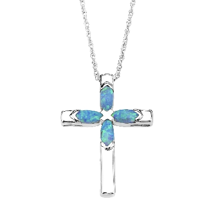 sterling silver cross pendant with marquise shaped created opals in the center
