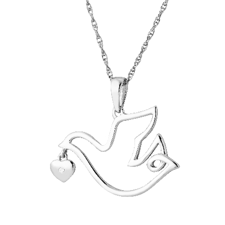 sterlng silver pendant; dove outline with dangling heart; diamond set in the heart; on rope chain