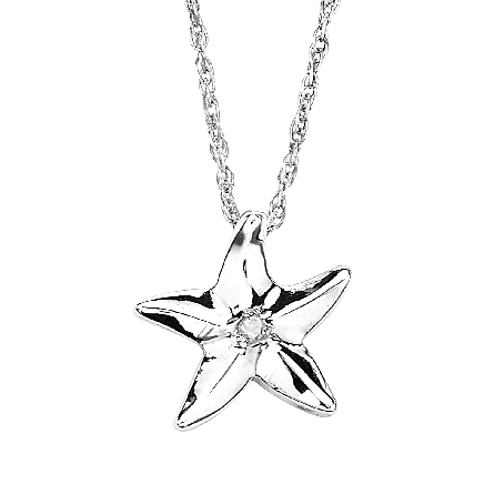 sterlng silver starfish pendant with diamond in center; on rope chain
