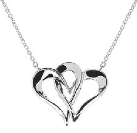 sterling silver split chain necklace; Two Hearts in One; on rolo chain