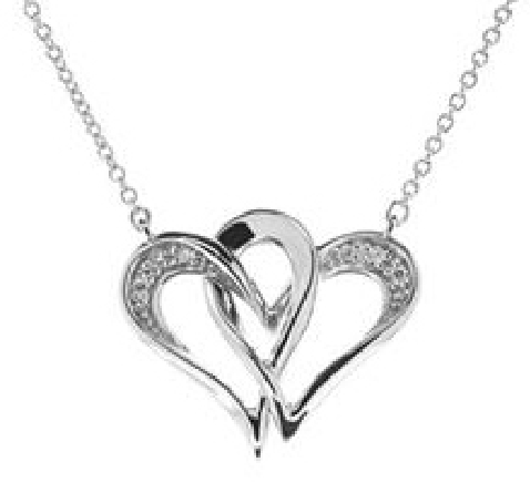 sterling silver split chain necklace; Two Hearts in One; with .04cttw diamond on the outer curves; on rolo chain