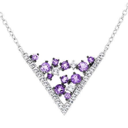 sterling silver split cable chain necklace with V-shaped center set with amethyst and white topaz