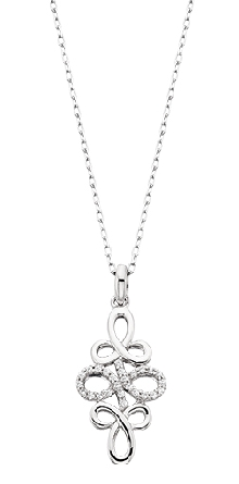 10 karat white gold pendant; diamond-set east-west infinity symbol in center extending out to interlocking curves top and bottom; .10cttw; on diamond-cut cable chain