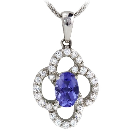14 karat white gold pendant; oval star-grade tanzanite with diamond-set open swirls around; 1/5cttw; on rope chain