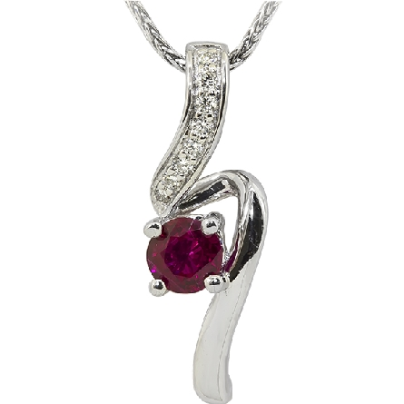 14 karat white gold pendant; round star-grade sapphire in the center of a long curve; diamond-set on the top half; 1/20cttw GH/SI; on wheat chain. Shown with ruby as the center stone.