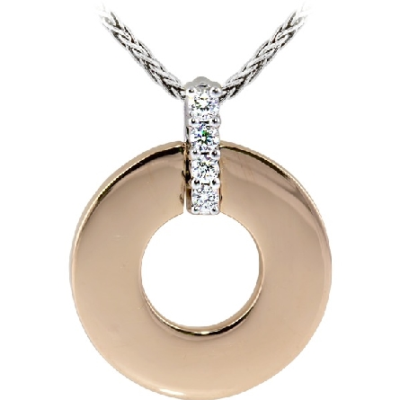 14 karat two-tone pendant with rose gold polished flat disc; white gold diamond-set bail; .07cttw HG/SI; on white gold wheat chain