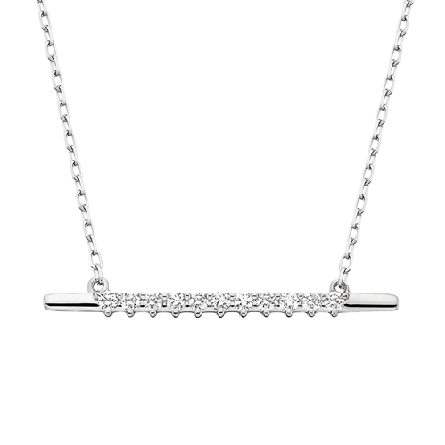 10 karat white gold split chain necklace; centerpiece is a bar set with 11 diamonds; .13cttw