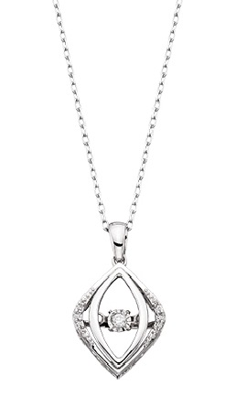 10 karat white gold pendant; open geometric shape with diamonds on the outer frame; dancing diamond in the center; .05cttw