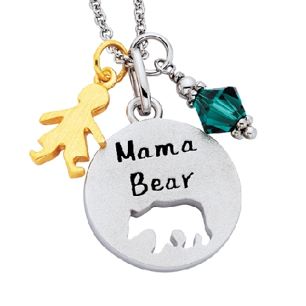 sterling silver round pendant with a cutout bear shape and the words   Mama Bear   on the front; on an adjustable length cable chain. Charms available separately.