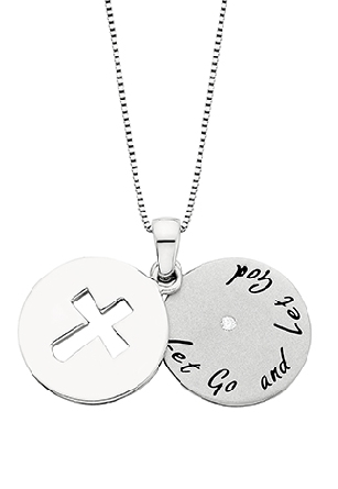 sterling silver two piece round pendant; outer layer has a pierced cross; inner layer has a .02carat diamond that shows through the center of the cross; and the message   Let Go and Let God   around the bottom; on adjustable length cable chain