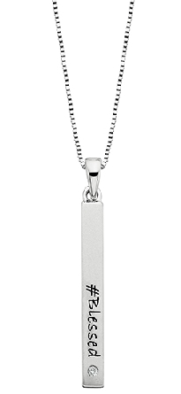 sterling silver pendant; long satin finished bar with a .02 carat diamond at the bottom; engraving on the bar is   #Blessed