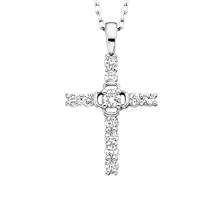 14 karat white gold cross pendant; diamonds cover bars; with the center diamond in an open frame; 1/4cttw GH/SI;on 18 inch cable chain