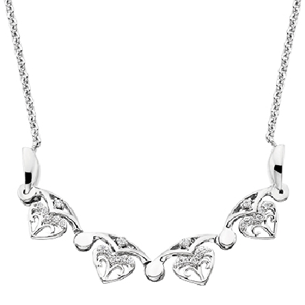 sterling silver split chain necklace with cubic zirconia that can be worn two ways via a magnetic closure;   open   (shown) making an arc of fleur-de-lis shapes; or   closed   making a circular filigree shape.