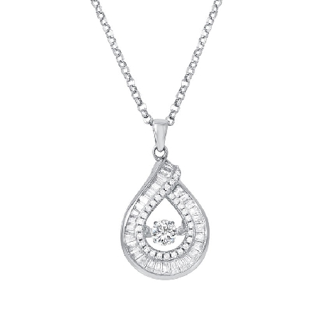 sterling silver pear-shaped pendant outlined in baguette-cut cubic zirconia with a   dazzling   round CZ in the center opening; small rounds lining the opening; on an 18 inch cable chain with lobster claw
