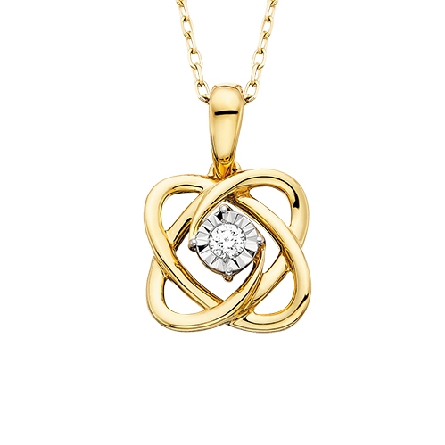 10 karat yellow gold   Embraceable You   pendant; interlocking polished curves forming hearts; center .05ct diamond; on cable chain