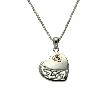 This pendant is part of Keith Jack s Heart Collection. It is made of sterling silver with a 10 karat yellow gold trinity symbol; and comes with an 18 inch wheat chain. Wear this heart necklace as a symbol of true love. Formed from one continuous line