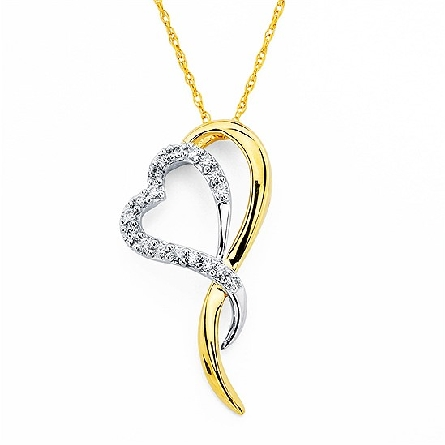 14 karat two-tone pendant; white gold diamond-set heart intertwined with a polished yellow gold partial heart; .11cttw I/I1 diamond; on a fine rope chain