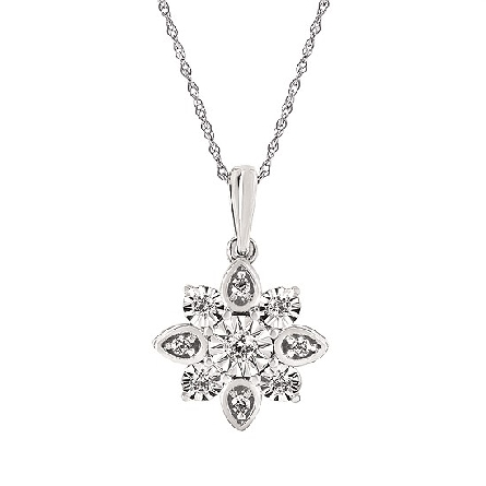 14 karat white gold diamond pendant in an 8-pointed cluster; .17cttw I/I1; on fine rope chain