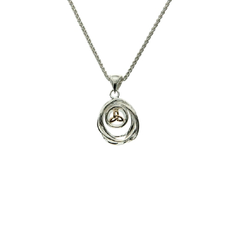 This small pendant is part of Keith Jack s Cradle of Life Collection. It is made of sterling silver and 10 karat yellow gold; and comes with an 18 inch wheat chain. Wear this pendant as a reminder that our lives are forever intertwined with those we