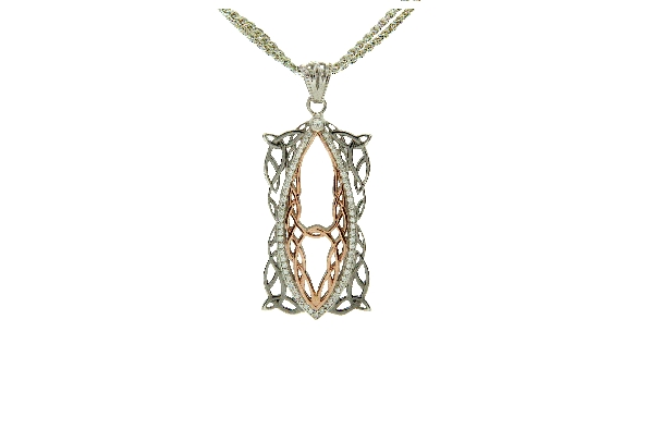 This sterling silver necklace is part of Keith Jack s Gateway Collection. It is accented with 10 karat rose gold; cubic zirconia; and ruthenium plating; and comes with a 36 inch chain which can be doubled to wear at 18 inches. Your inner gateway open