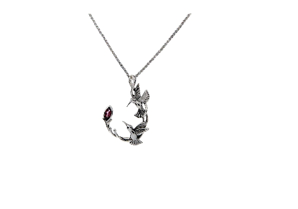 This sterling silver necklace is part of Keith Jack s Hummingbird Collection. It features a rhodolite garnet and comes with an 18 inch wheat chain. Wear this necklace as a symbol of Joy and Courage.