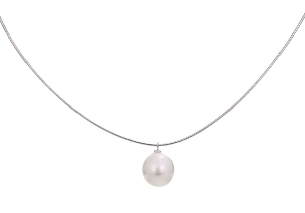 sterling silver micro cable neck chain (approx. 16.5 inches long) with a freshwater pearl dangle measuring approx. 14x12mm