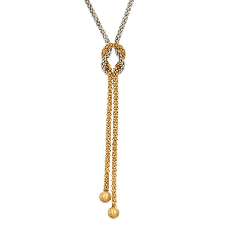 sterling silver 2mm mesh necklace with gold plated center section attached with a knot; adjustable length