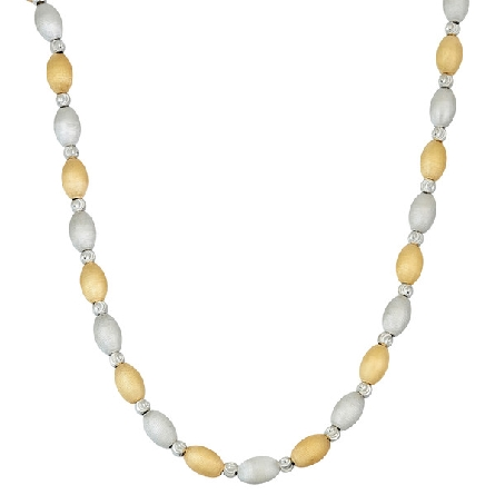 sterling silver necklace; oval satin finish beads alternate silver and gold plate; with diamond cut beads between; adjustable length; Jayden Star JS2002/N/YW