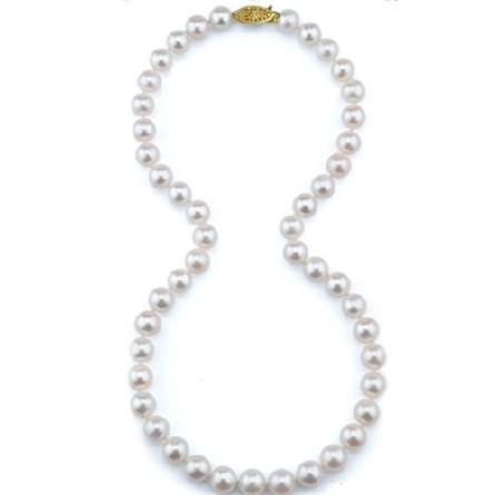 eighteen inch necklace of AA quality 7-7.5mm freshwater pearls; 14 karat white gold clasp