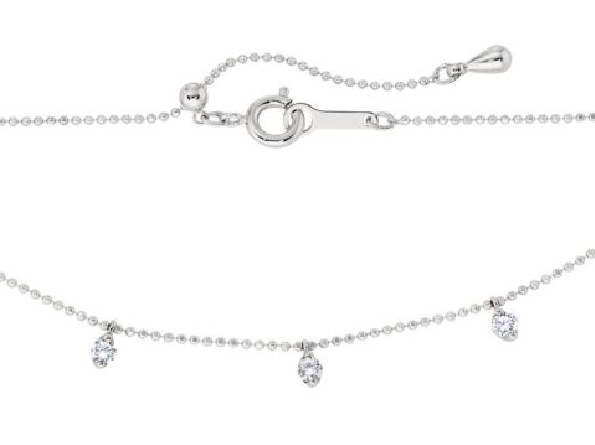 14 karat white gold adjustable length necklace with dangling diamond settings spaced around center half; .85cttw HI/I