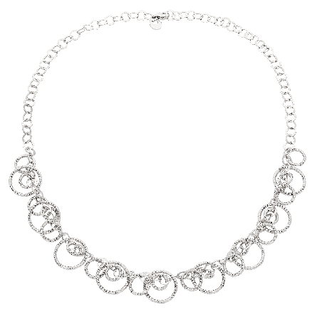 sterling silver necklace with diamond cut circles; 18 inch plus extender to 20 inches