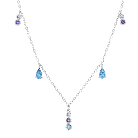 sterling silver necklace with dangling stations of bezel-set amethyst and blue and white topaz; adjustable from 18 to 20 inches