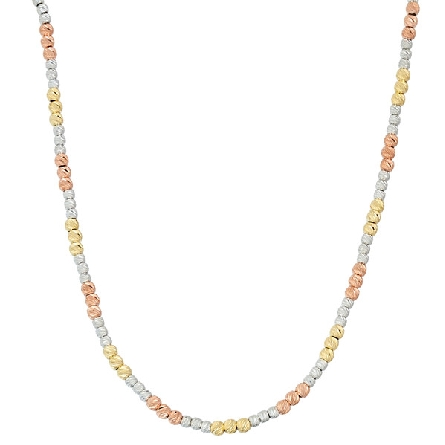 sterling silver necklace; alternating sections of silver; gold plate and rose gold plate diamond cut beads; adjustable length