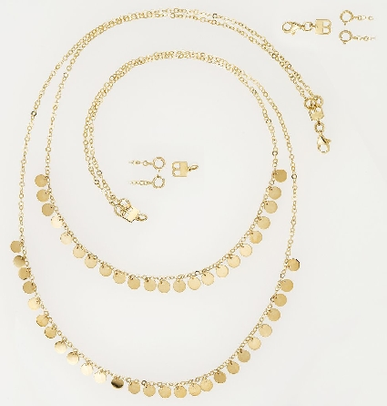 14 karat yellow gold necklace with two strands of tiny polished discs; and a convertible clasp that allows for wearing one or both of the chains