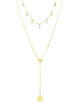 14 karat double strand necklace: longer Y-necklace has two hammered discs; and shorter has cubic zirconia dangles. The convertible clasp allows for the wearing of one or both chains.