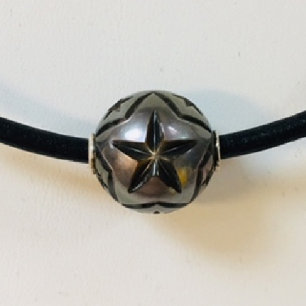 Galatea hand carved 14-14.5mm Tahitian pearl necklace   North Star II   on 20 inch leather cord with sterling silver ends.
