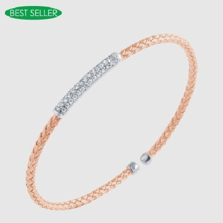 sterling silver flexible woven skinny cuff bracelet with 18K rose gold plate and cubic zirconia set bar shape in center
